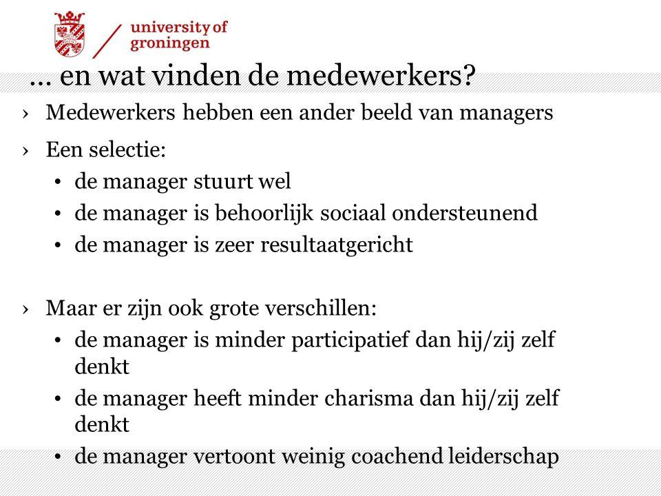 … en wat vinden de medewerkers? ›Medewerkers hebben een ander beeld van managers ›Een selectie: de manager stuurt wel de manager is behoorlijk sociaal