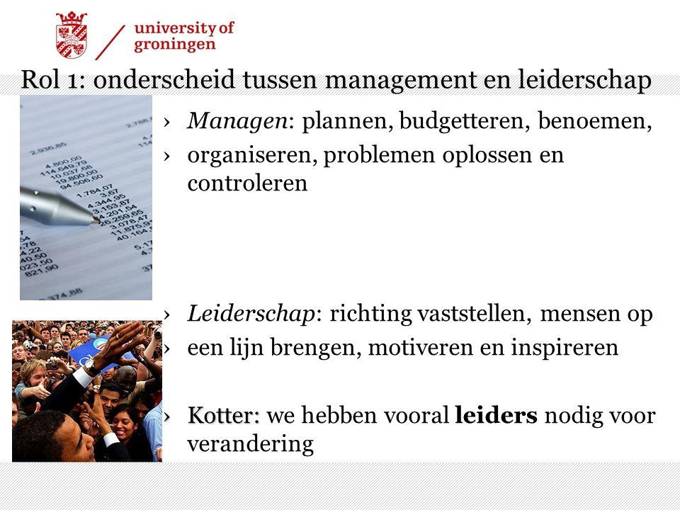 Rol 1: onderscheid tussen management en leiderschap ›Managen: plannen, budgetteren, benoemen, ›organiseren, problemen oplossen en controleren ›Leiders