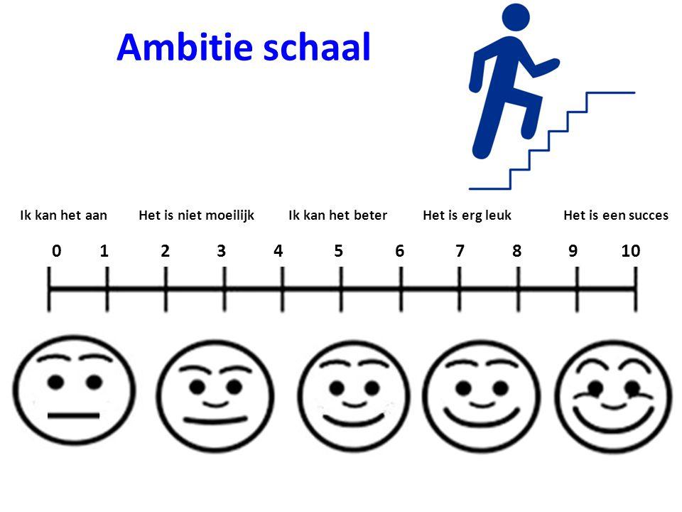 Ambitie schaal Ik kan het aanHet is niet moeilijkIk kan het beterHet is erg leukHet is een succes 0 1 2 3 4 5 6 7 8 9 10