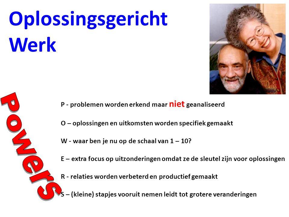 Oplossingsgericht Werk P - problemen worden erkend maar niet geanaliseerd W - waar ben je nu op de schaal van 1 – 10.