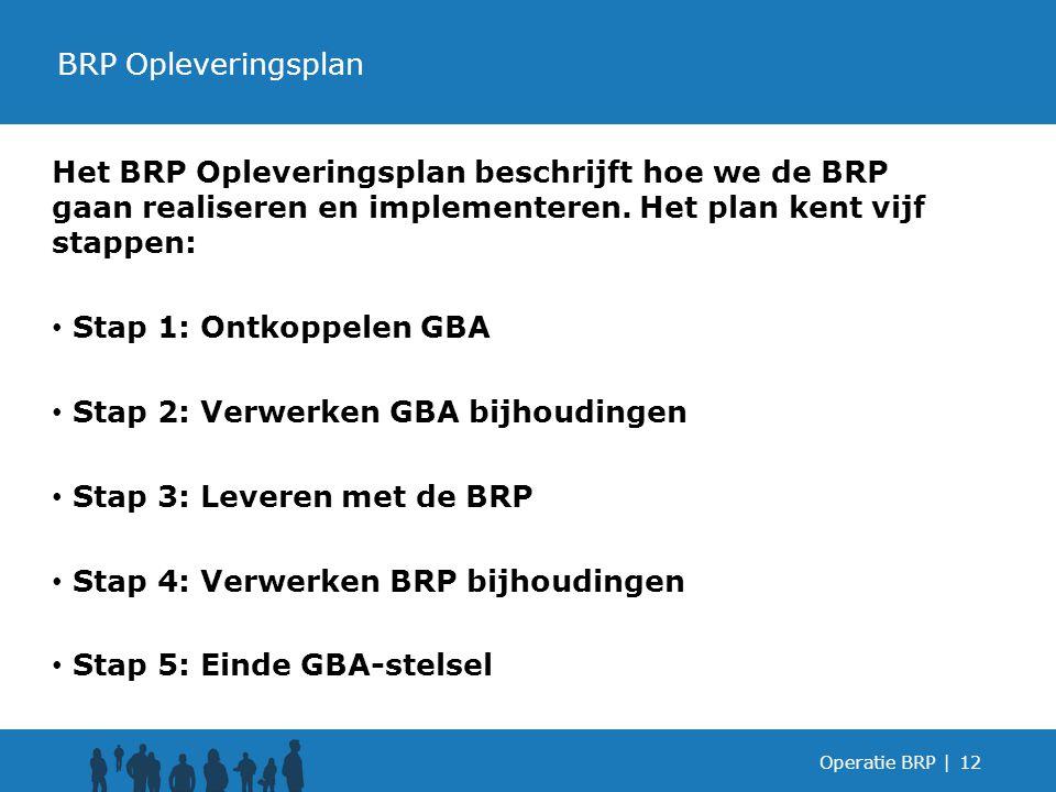 Het BRP Opleveringsplan beschrijft hoe we de BRP gaan realiseren en implementeren.