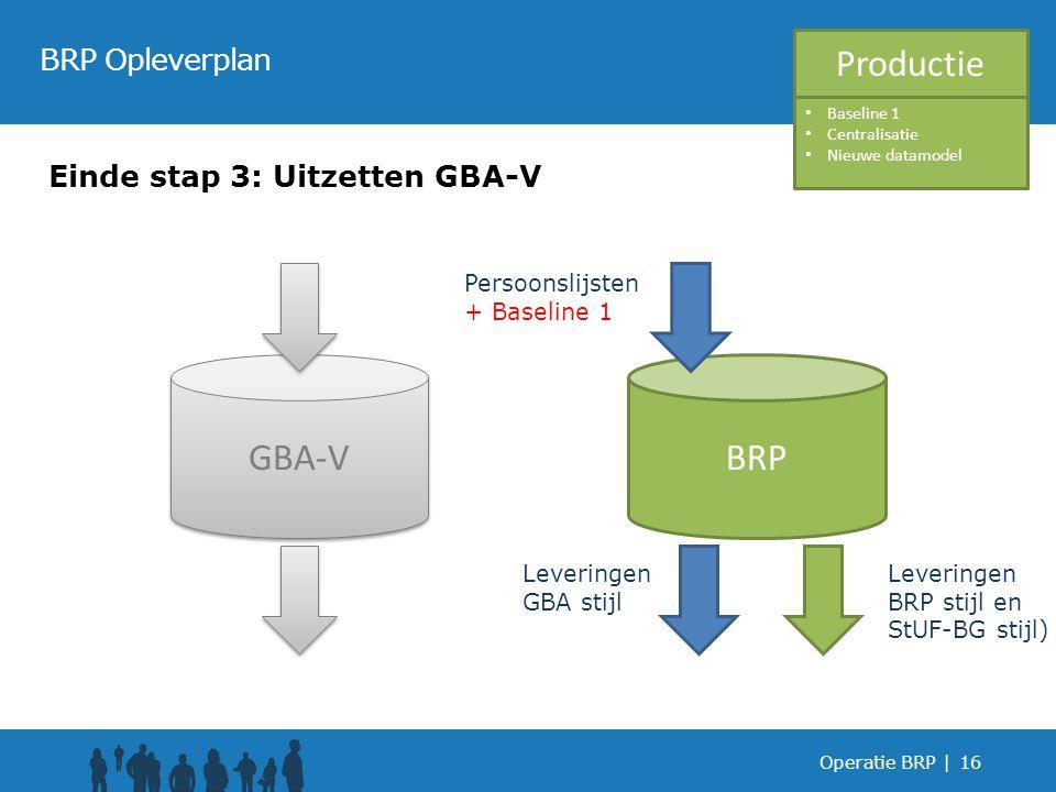 Operatie BRP |16 BRP Opleverplan Einde stap 3: Uitzetten GBA-V GBA-V BRP Leveringen GBA stijl Leveringen BRP stijl en StUF-BG stijl) Productie Persoonslijsten + Baseline 1 Baseline 1 Centralisatie Nieuwe datamodel