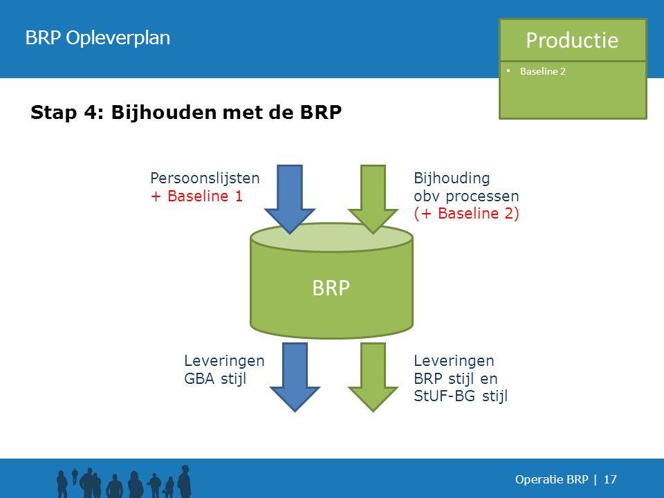 Operatie BRP |17 BRP Opleverplan Stap 4: Bijhouden met de BRP BRP Leveringen GBA stijl Leveringen BRP stijl en StUF-BG stijl Bijhouding obv processen (+ Baseline 2) Persoonslijsten + Baseline 1 Productie Baseline 2