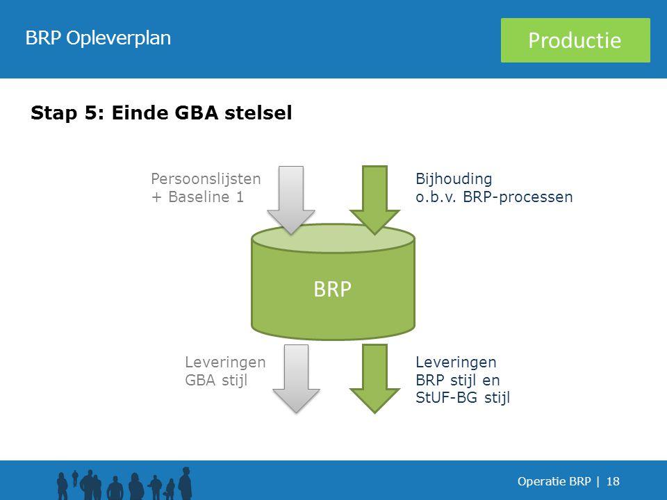 Operatie BRP |18 BRP Opleverplan Stap 5: Einde GBA stelsel BRP Leveringen GBA stijl Leveringen BRP stijl en StUF-BG stijl Bijhouding o.b.v.