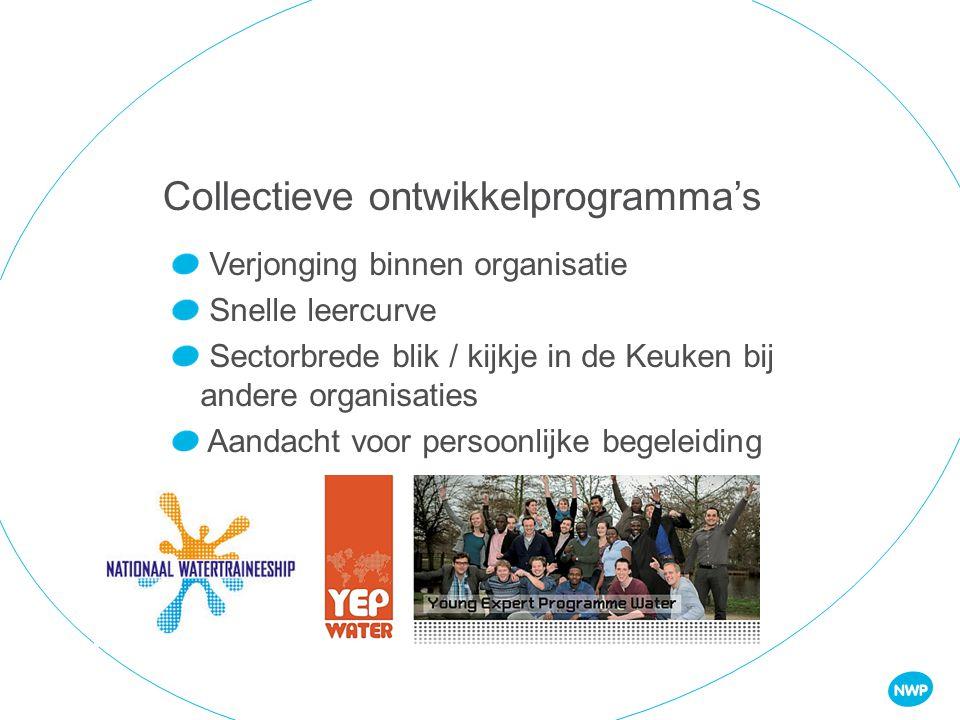 Collectieve ontwikkelprogramma's Verjonging binnen organisatie Snelle leercurve Sectorbrede blik / kijkje in de Keuken bij andere organisaties Aandacht voor persoonlijke begeleiding