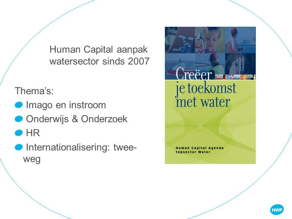 Human Capital aanpak watersector sinds 2007 Thema's: Imago en instroom Onderwijs & Onderzoek HR Internationalisering: twee- weg