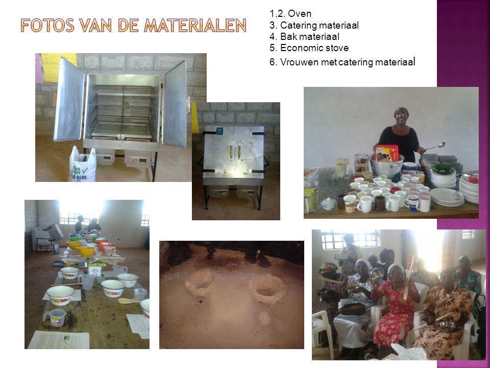 1,2. Oven 3. Catering materiaal 4. Bak materiaal 5.