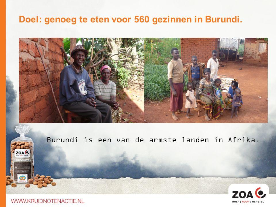 Doel: genoeg te eten voor 560 gezinnen in Burundi. Burundi is een van de armste landen in Afrika.