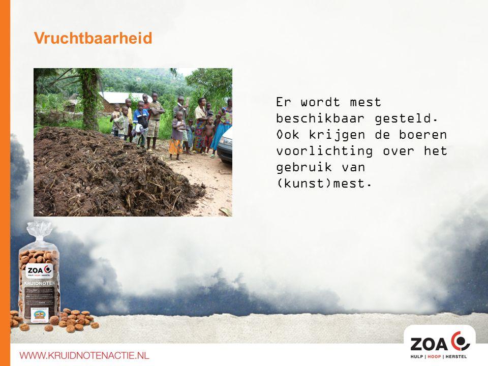 Vruchtbaarheid Er wordt mest beschikbaar gesteld. Ook krijgen de boeren voorlichting over het gebruik van (kunst)mest.