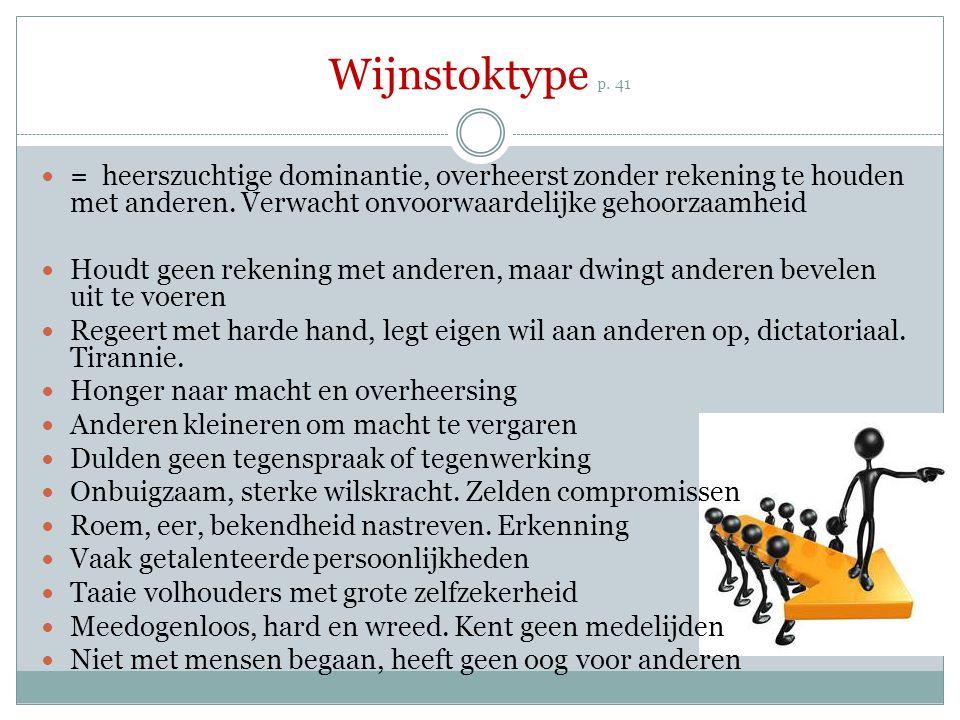 Wijnstoktype p. 41 = heerszuchtige dominantie, overheerst zonder rekening te houden met anderen. Verwacht onvoorwaardelijke gehoorzaamheid Houdt geen