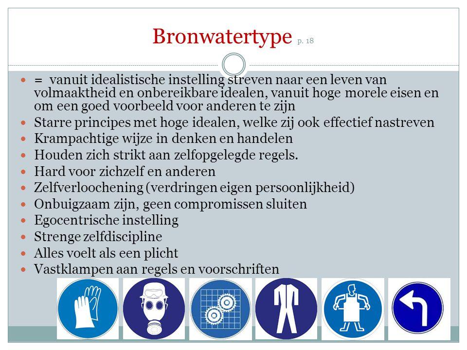Bronwatertype p. 18 = vanuit idealistische instelling streven naar een leven van volmaaktheid en onbereikbare idealen, vanuit hoge morele eisen en om