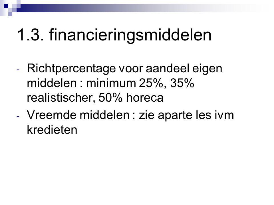 1.3. financieringsmiddelen - Richtpercentage voor aandeel eigen middelen : minimum 25%, 35% realistischer, 50% horeca - Vreemde middelen : zie aparte