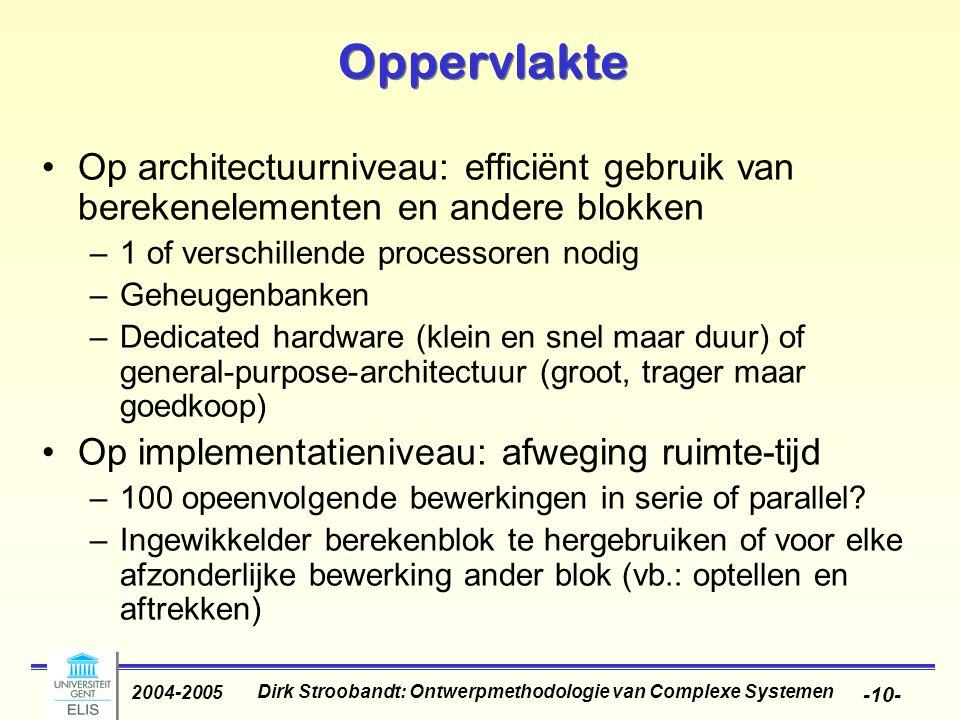 Dirk Stroobandt: Ontwerpmethodologie van Complexe Systemen 2004-2005 -10- Oppervlakte Op architectuurniveau: efficiënt gebruik van berekenelementen en