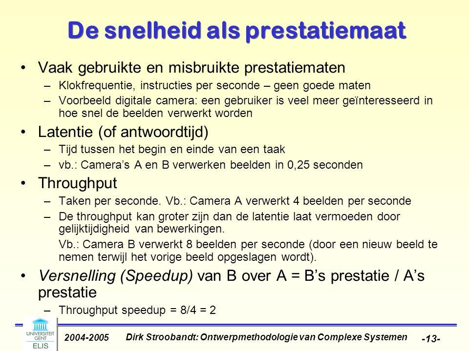 Dirk Stroobandt: Ontwerpmethodologie van Complexe Systemen 2004-2005 -13- De snelheid als prestatiemaat Vaak gebruikte en misbruikte prestatiematen –K