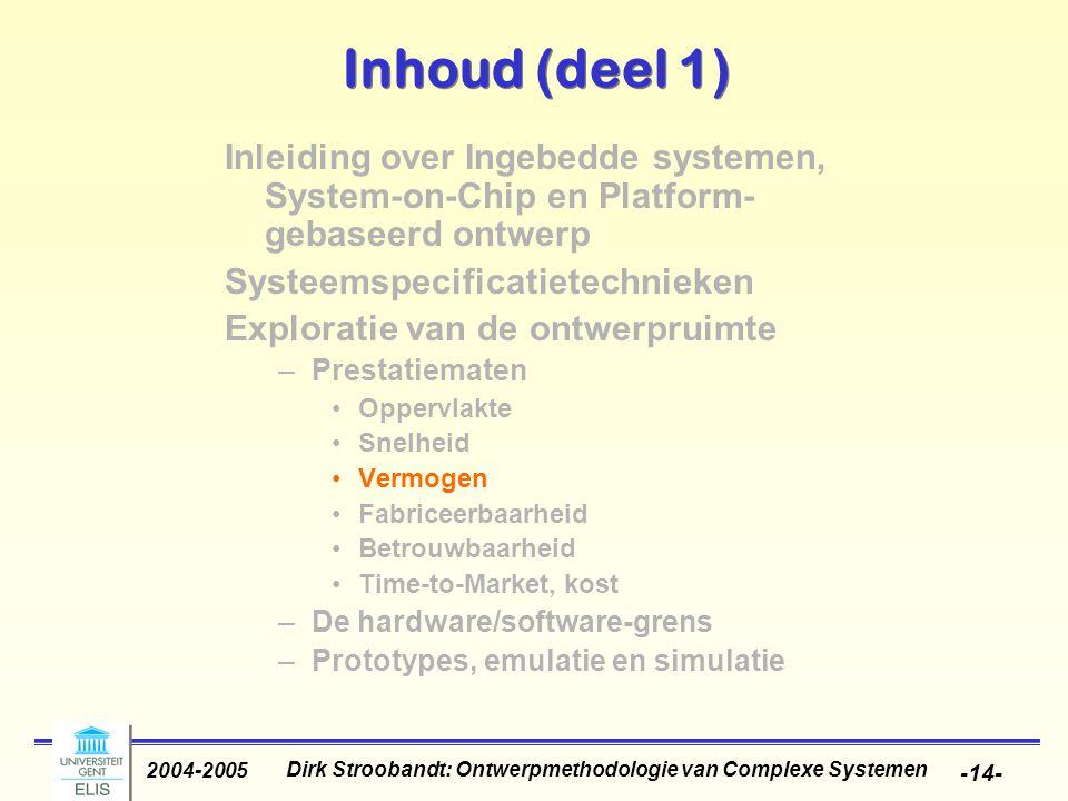 Dirk Stroobandt: Ontwerpmethodologie van Complexe Systemen 2004-2005 -14- Inhoud (deel 1) Inleiding over Ingebedde systemen, System-on-Chip en Platfor