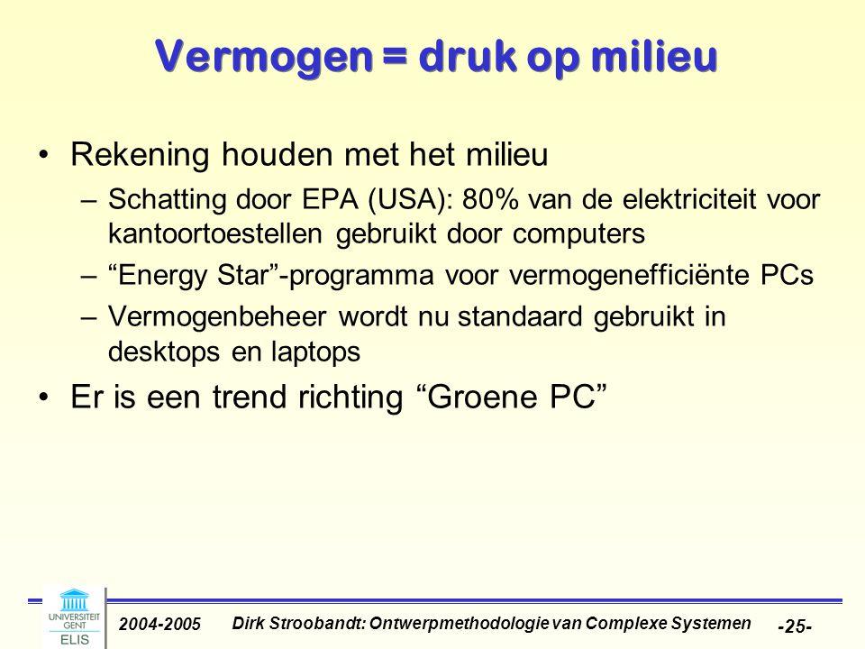 Dirk Stroobandt: Ontwerpmethodologie van Complexe Systemen 2004-2005 -25- Vermogen = druk op milieu Rekening houden met het milieu –Schatting door EPA