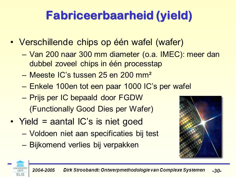 Dirk Stroobandt: Ontwerpmethodologie van Complexe Systemen 2004-2005 -30- Fabriceerbaarheid (yield) Verschillende chips op één wafel (wafer) –Van 200 naar 300 mm diameter (o.a.