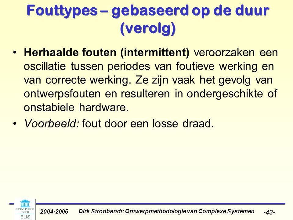 Dirk Stroobandt: Ontwerpmethodologie van Complexe Systemen 2004-2005 -43- Fouttypes – gebaseerd op de duur (verolg) Herhaalde fouten (intermittent) ve