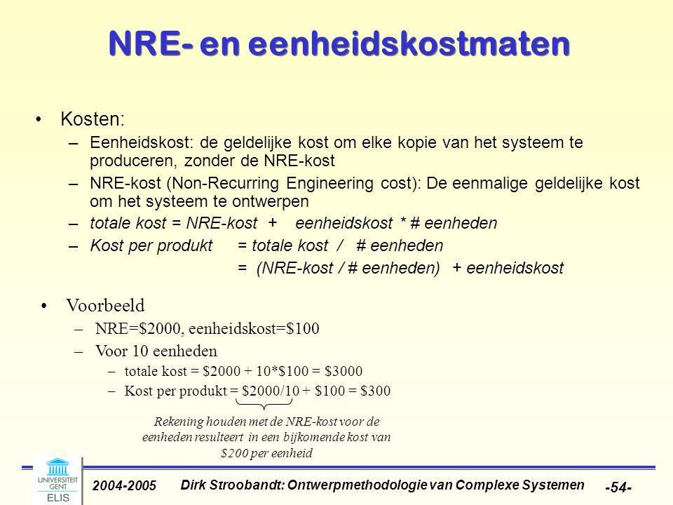 Dirk Stroobandt: Ontwerpmethodologie van Complexe Systemen 2004-2005 -54- NRE- en eenheidskostmaten Kosten: –Eenheidskost: de geldelijke kost om elke kopie van het systeem te produceren, zonder de NRE-kost –NRE-kost (Non-Recurring Engineering cost): De eenmalige geldelijke kost om het systeem te ontwerpen –totale kost = NRE-kost + eenheidskost * # eenheden –Kost per produkt = totale kost / # eenheden = (NRE-kost / # eenheden) + eenheidskost Voorbeeld –NRE=$2000, eenheidskost=$100 –Voor 10 eenheden –totale kost = $2000 + 10*$100 = $3000 –Kost per produkt = $2000/10 + $100 = $300 Rekening houden met de NRE-kost voor de eenheden resulteert in een bijkomende kost van $200 per eenheid