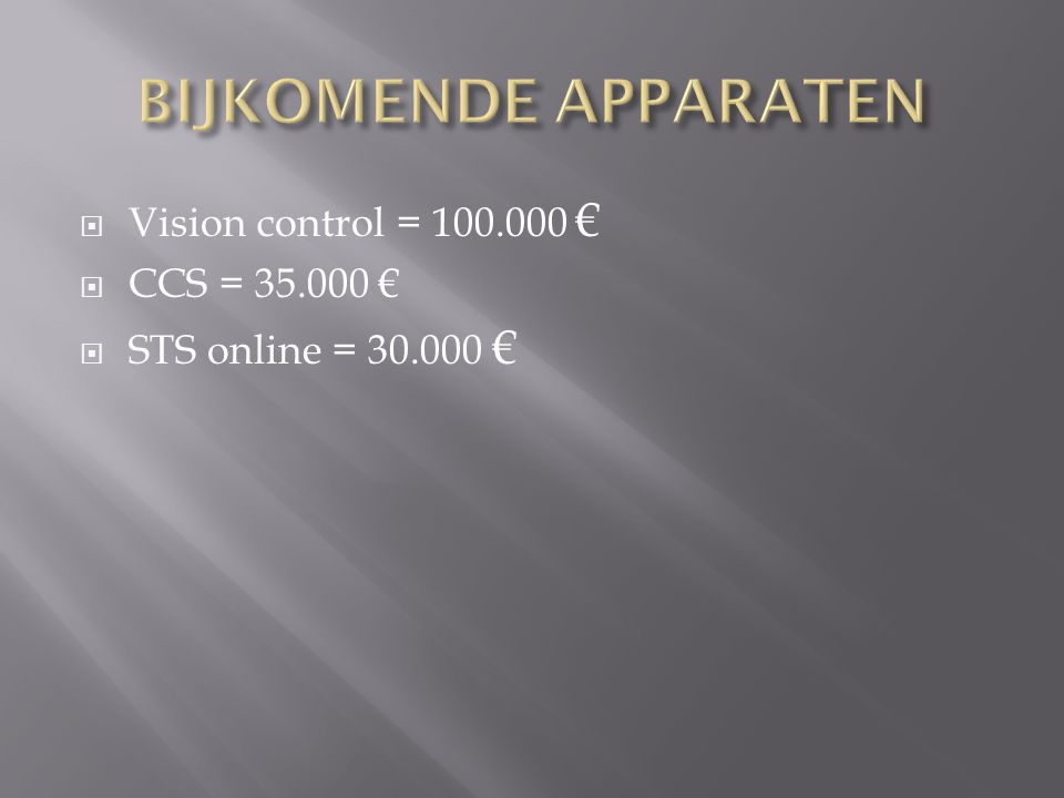  Vision control = 100.000 €  CCS = 35.000 €  STS online = 30.000 €