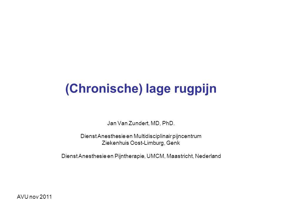 AVU nov 2011 (Chronische) lage rugpijn Jan Van Zundert, MD, PhD. Dienst Anesthesie en Multidisciplinair pijncentrum Ziekenhuis Oost-Limburg, Genk Dien