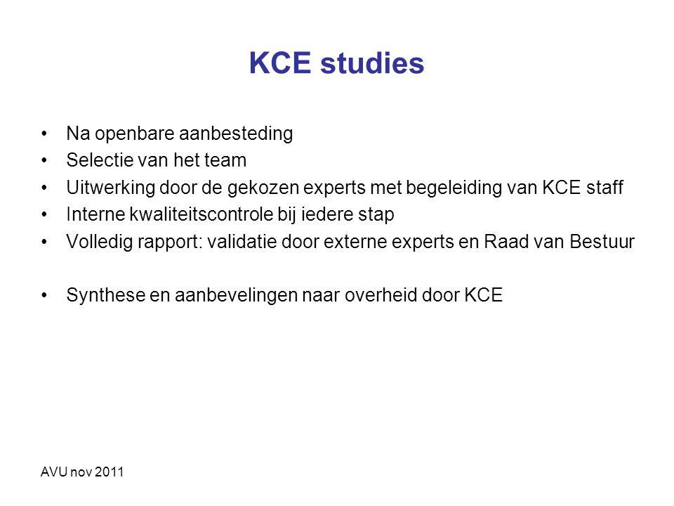 AVU nov 2011 KCE studies Na openbare aanbesteding Selectie van het team Uitwerking door de gekozen experts met begeleiding van KCE staff Interne kwali