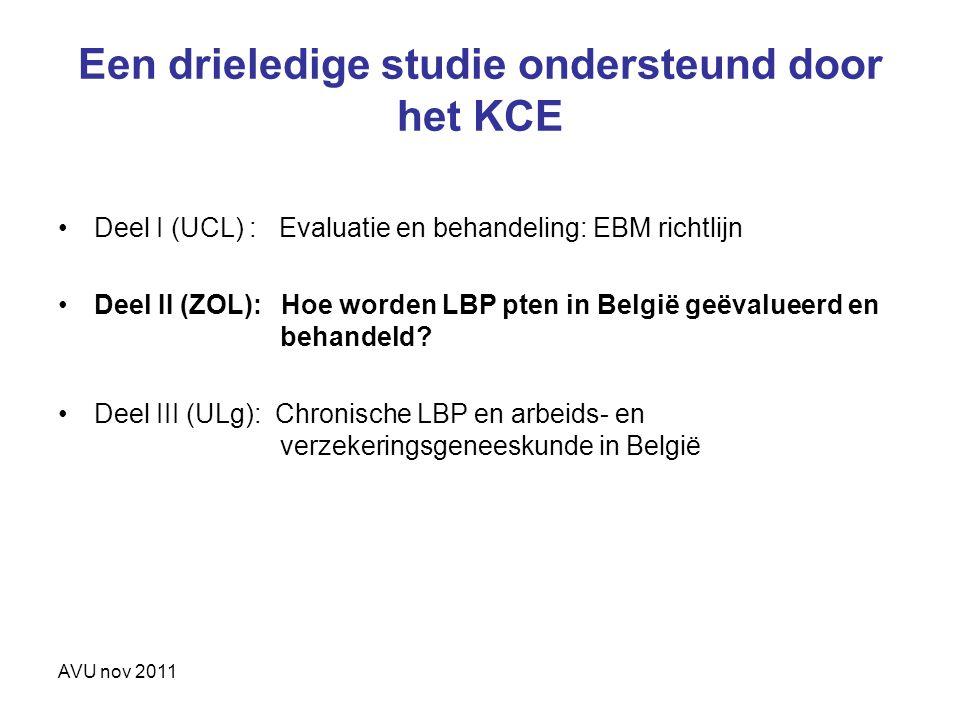 AVU nov 2011 Een drieledige studie ondersteund door het KCE Deel I (UCL) : Evaluatie en behandeling: EBM richtlijn Deel II (ZOL): Hoe worden LBP pten