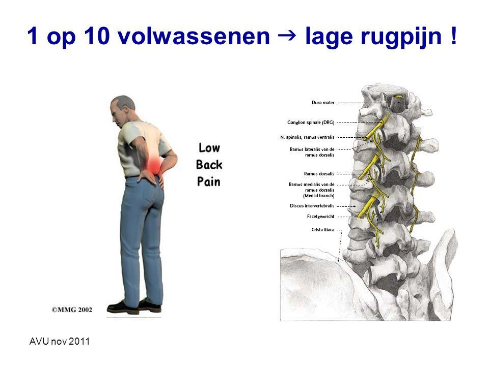 AVU nov 2011 1 op 10 volwassenen  lage rugpijn !