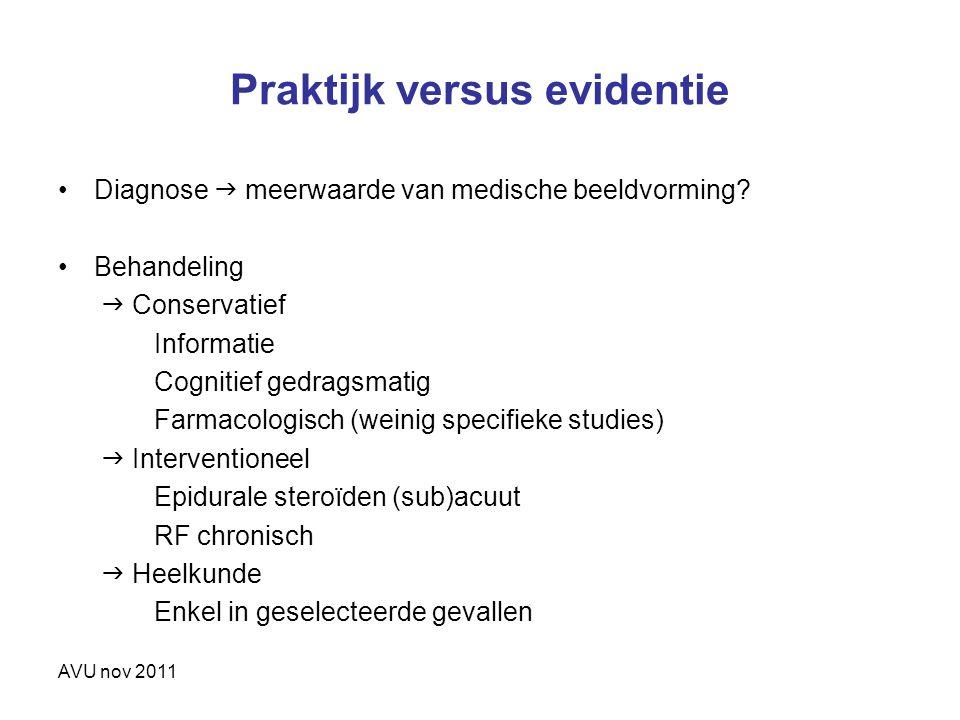 AVU nov 2011 Praktijk versus evidentie Diagnose  meerwaarde van medische beeldvorming? Behandeling  Conservatief Informatie Cognitief gedragsmatig F