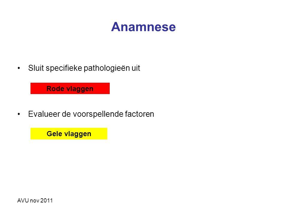 AVU nov 2011 Anamnese Sluit specifieke pathologieën uit Evalueer de voorspellende factoren Rode vlaggen Gele vlaggen