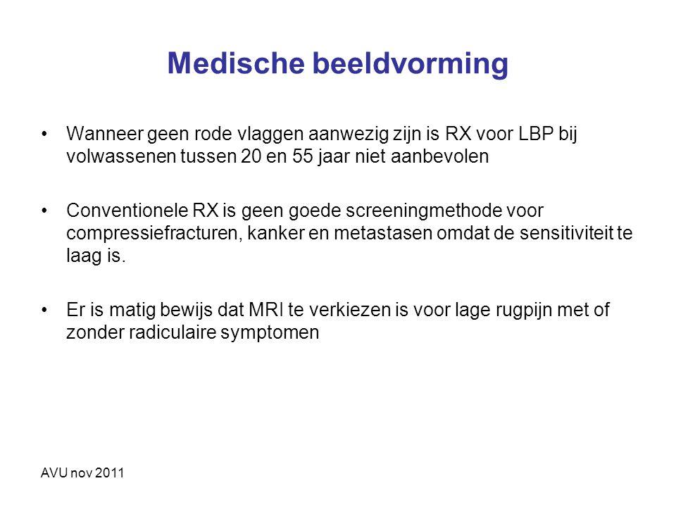 AVU nov 2011 Medische beeldvorming Wanneer geen rode vlaggen aanwezig zijn is RX voor LBP bij volwassenen tussen 20 en 55 jaar niet aanbevolen Convent