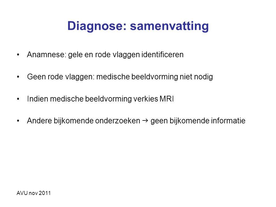 AVU nov 2011 Diagnose: samenvatting Anamnese: gele en rode vlaggen identificeren Geen rode vlaggen: medische beeldvorming niet nodig Indien medische b
