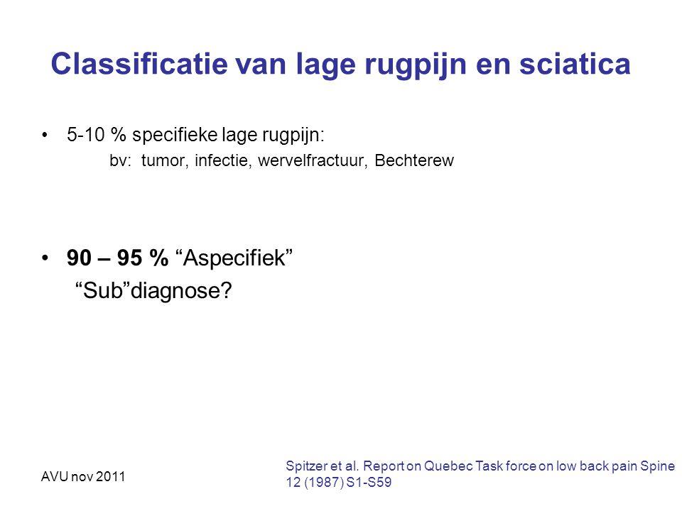 """AVU nov 2011 Classificatie van lage rugpijn en sciatica 5-10 % specifieke lage rugpijn: bv: tumor, infectie, wervelfractuur, Bechterew 90 – 95 % """"Aspe"""