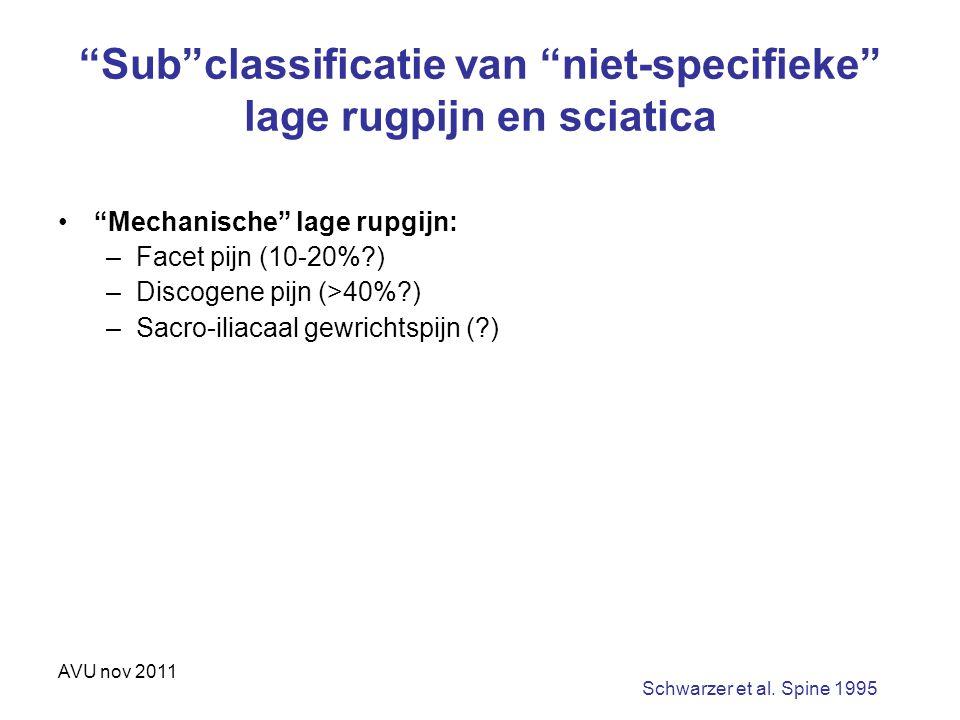 """AVU nov 2011 """"Sub""""classificatie van """"niet-specifieke"""" lage rugpijn en sciatica """"Mechanische"""" lage rupgijn: –Facet pijn (10-20%?) –Discogene pijn (>40%"""