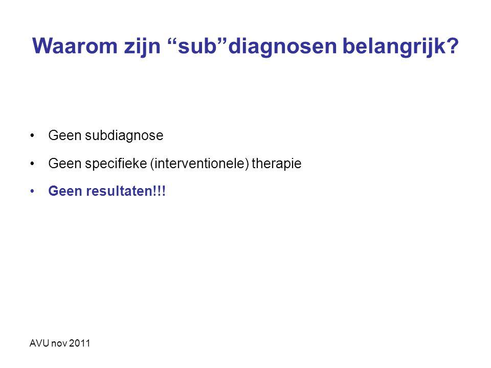 """Waarom zijn """"sub""""diagnosen belangrijk? Geen subdiagnose Geen specifieke (interventionele) therapie Geen resultaten!!!"""