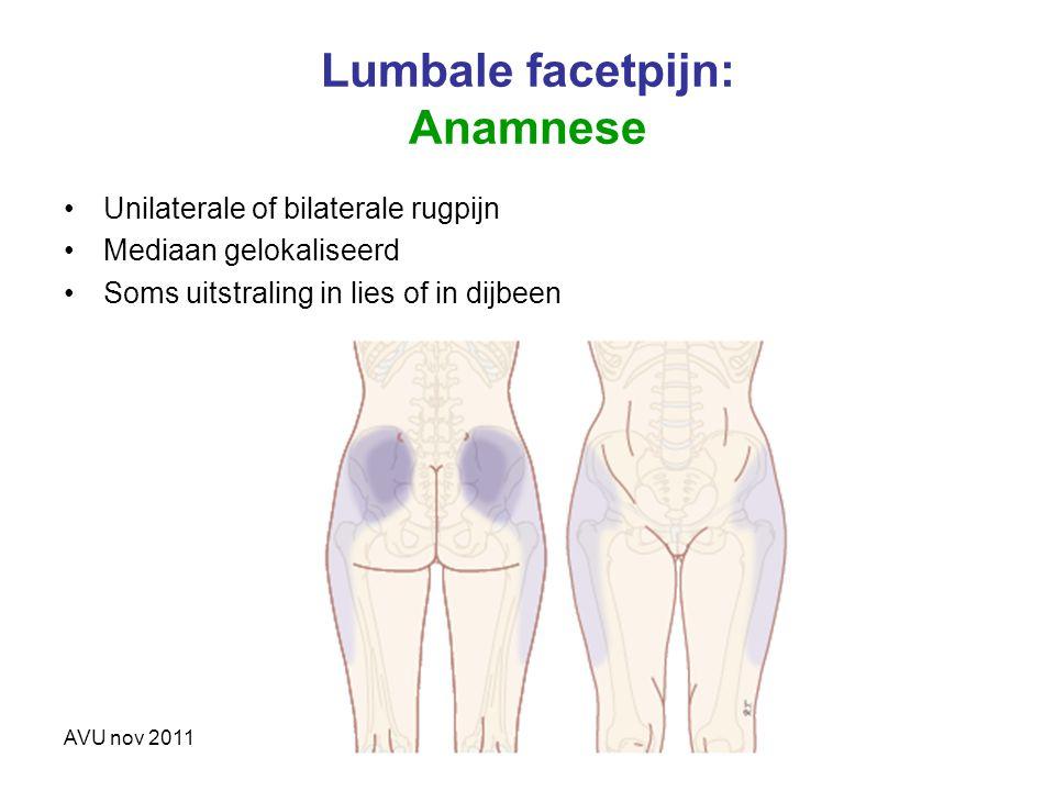 Lumbale facetpijn: Anamnese Unilaterale of bilaterale rugpijn Mediaan gelokaliseerd Soms uitstraling in lies of in dijbeen