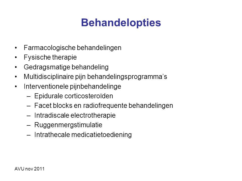 Behandelopties Farmacologische behandelingen Fysische therapie Gedragsmatige behandeling Multidisciplinaire pijn behandelingsprogramma's Interventione