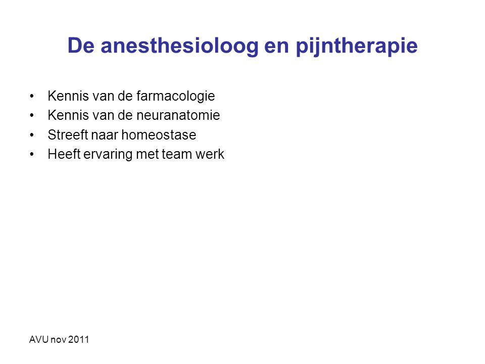 De anesthesioloog en pijntherapie Kennis van de farmacologie Kennis van de neuranatomie Streeft naar homeostase Heeft ervaring met team werk AVU nov 2