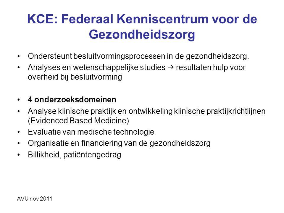 KCE: Federaal Kenniscentrum voor de Gezondheidszorg Ondersteunt besluitvormingsprocessen in de gezondheidszorg. Analyses en wetenschappelijke studies