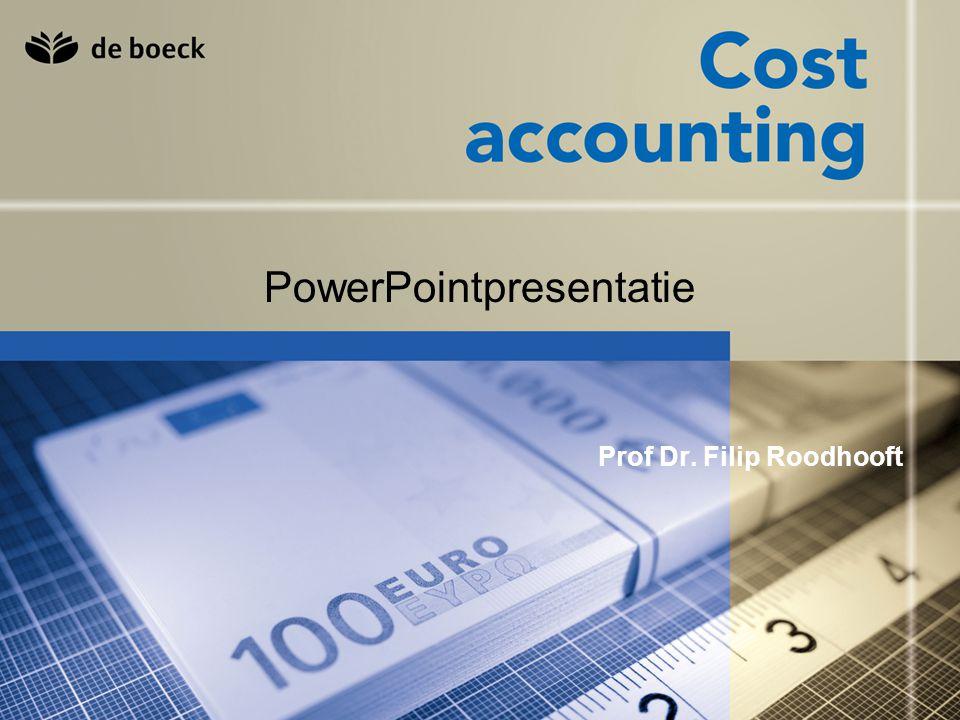 Cost accounting © De Boeck nv 42 Toepassing 2 Doughnuts Extern aankopen: 0,03 per doughnut Semi-automatische machine: F = 2.500; v = 0,01 Automatische machine: F = 4.500; v = 0,005 Gevraagd: 1) aantal eenheden te produceren voor elke machine opdat kost = externe aankoop 2) optimum voor 250.000 stuks 3) optimum voor 500.000 stuks 4) aantal stuks opdat semi-automatisch = automatisch