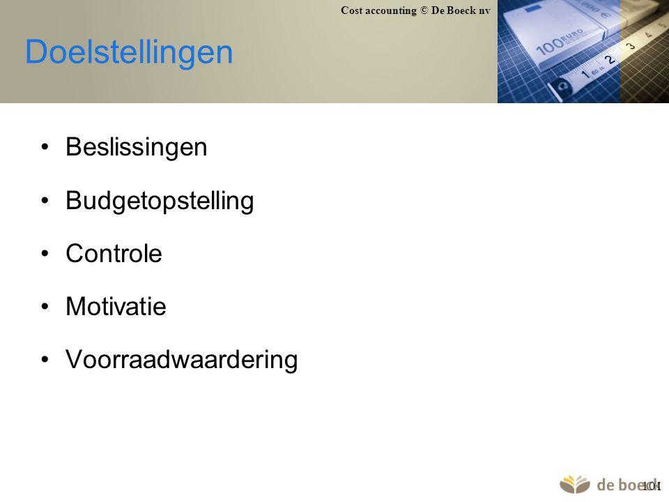 Cost accounting © De Boeck nv 101 Doelstellingen Beslissingen Budgetopstelling Controle Motivatie Voorraadwaardering