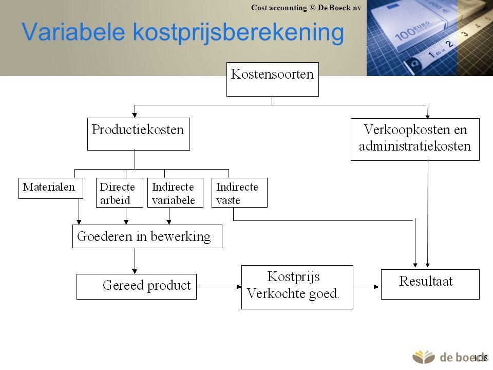 Cost accounting © De Boeck nv 108 Variabele kostprijsberekening