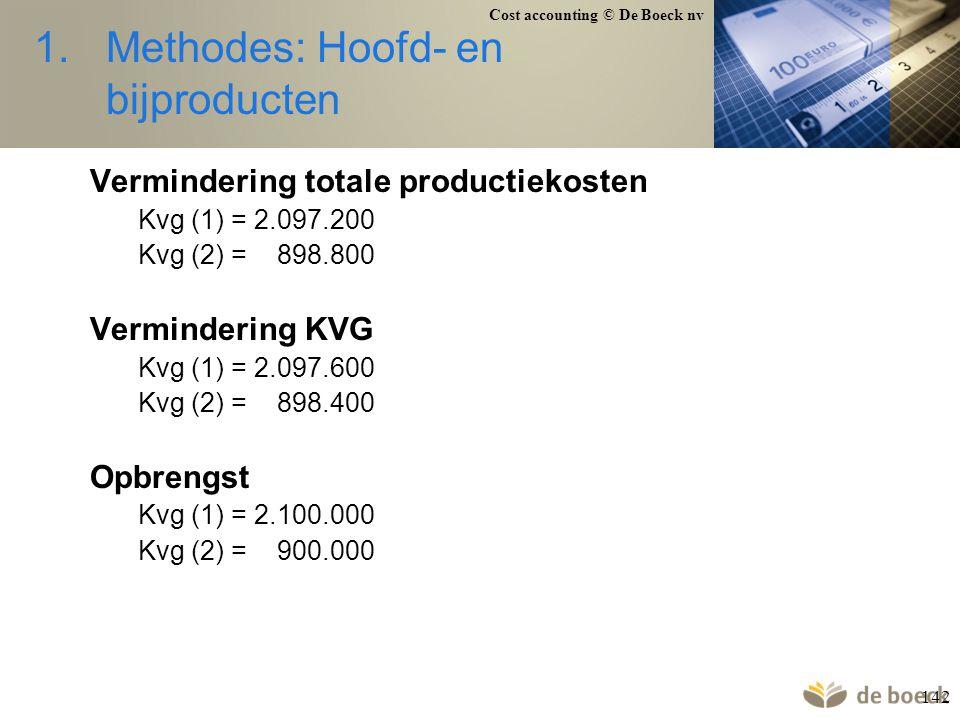 Cost accounting © De Boeck nv 142 1.Methodes: Hoofd- en bijproducten Vermindering totale productiekosten Kvg (1) = 2.097.200 Kvg (2) = 898.800 Vermind