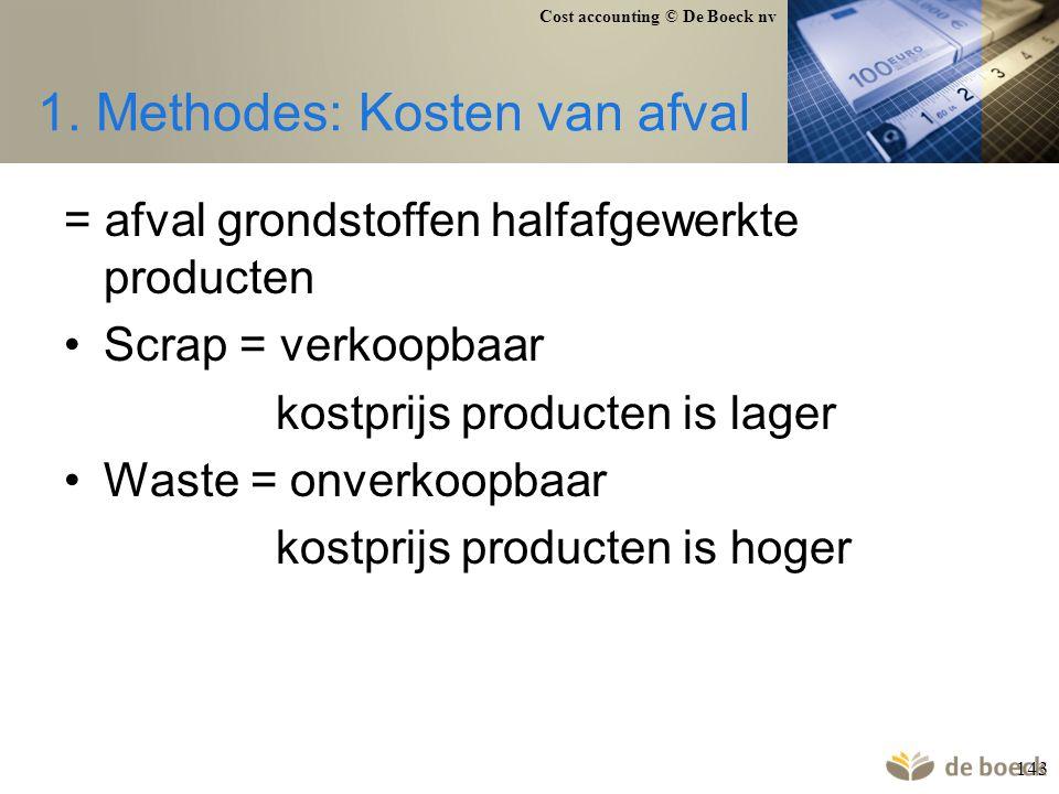 Cost accounting © De Boeck nv 143 1. Methodes: Kosten van afval = afval grondstoffen halfafgewerkte producten Scrap = verkoopbaar kostprijs producten