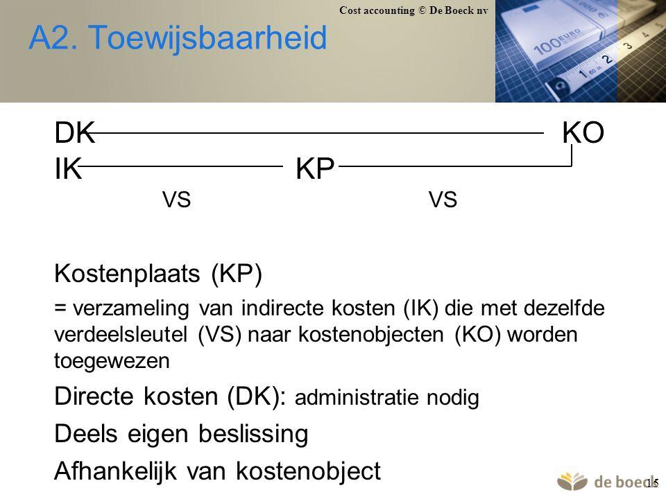 Cost accounting © De Boeck nv 15 A2. Toewijsbaarheid DKKO IKKP VSVS Kostenplaats (KP) = verzameling van indirecte kosten (IK) die met dezelfde verdeel