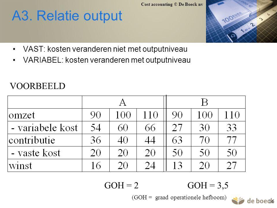 Cost accounting © De Boeck nv 16 A3. Relatie output VAST: kosten veranderen niet met outputniveau VARIABEL: kosten veranderen met outputniveau VOORBEE