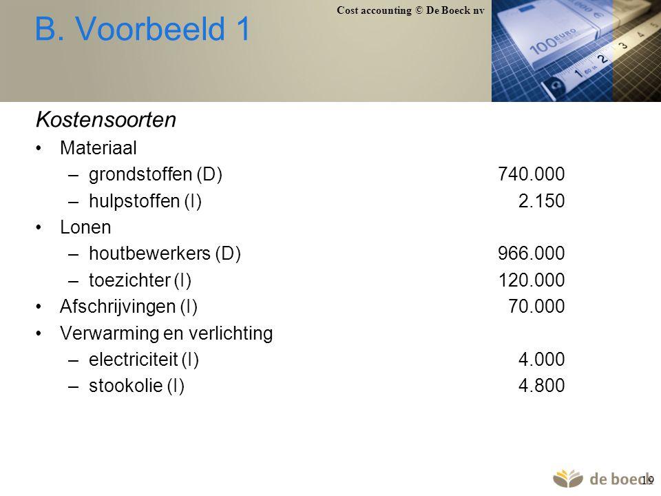 Cost accounting © De Boeck nv 19 B. Voorbeeld 1 Kostensoorten Materiaal –grondstoffen (D)740.000 –hulpstoffen (I) 2.150 Lonen –houtbewerkers (D)966.00