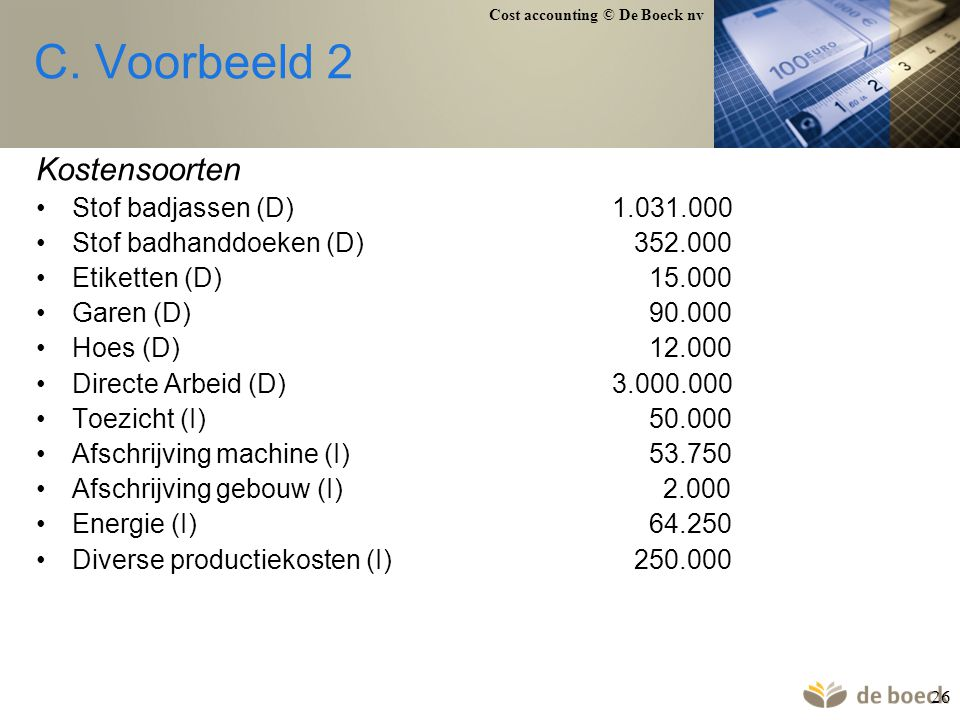 Cost accounting © De Boeck nv 26 C. Voorbeeld 2 Kostensoorten Stof badjassen (D)1.031.000 Stof badhanddoeken (D) 352.000 Etiketten (D) 15.000 Garen (D