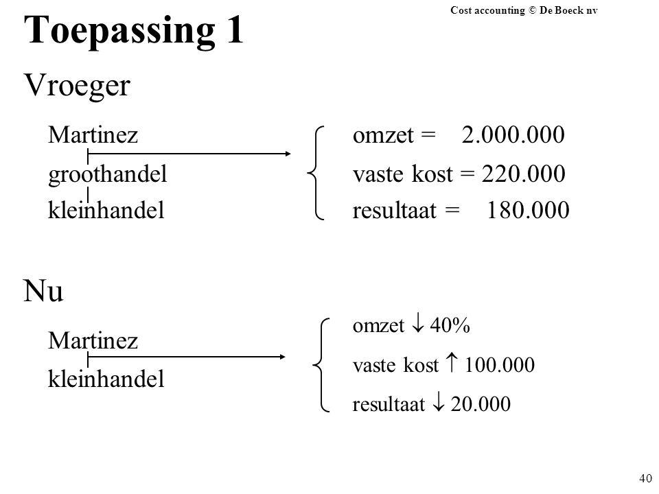 Cost accounting © De Boeck nv 40 Toepassing 1 Vroeger Martinezomzet = 2.000.000 groothandelvaste kost = 220.000 kleinhandelresultaat = 180.000 Nu Mart