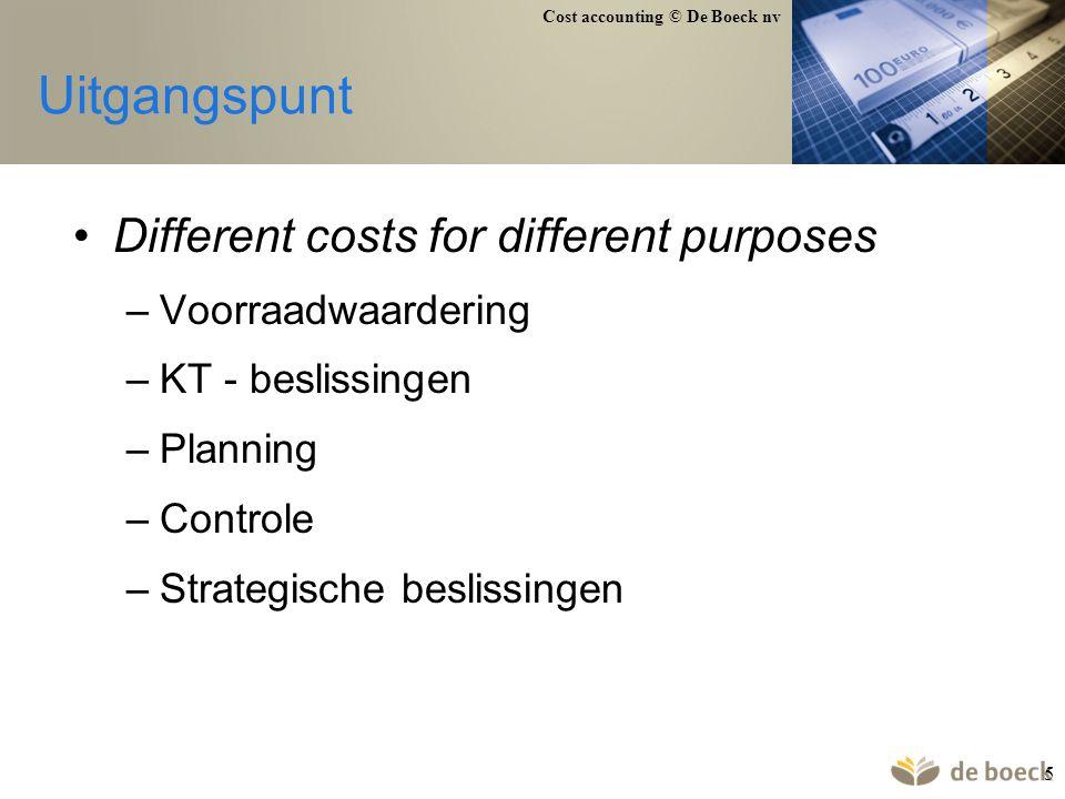 Cost accounting © De Boeck nv 126 Geen onderlinge dienstverlening Dienstverlenende afdelingen personeelsafdeling:50.000 onderhoud:20.000 (uitbesteed) Andere afdelingen labo productie verkoop